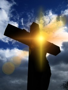 Jesus' holy justice, cross with shining light