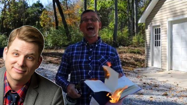 Angry Pastor Burns Atheists' Book