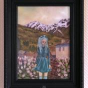 peinture huile fille montagne