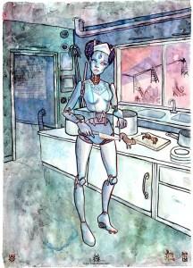"""Aquarelle """"Cuisinière Robot"""""""