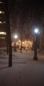 Trinity Square walk in winter with lights