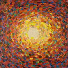painted image of a light shinging through haze