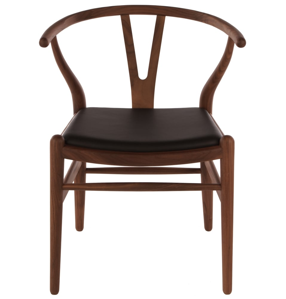 leather chair pads office with footrest uk wishbone walnut black seat - homage