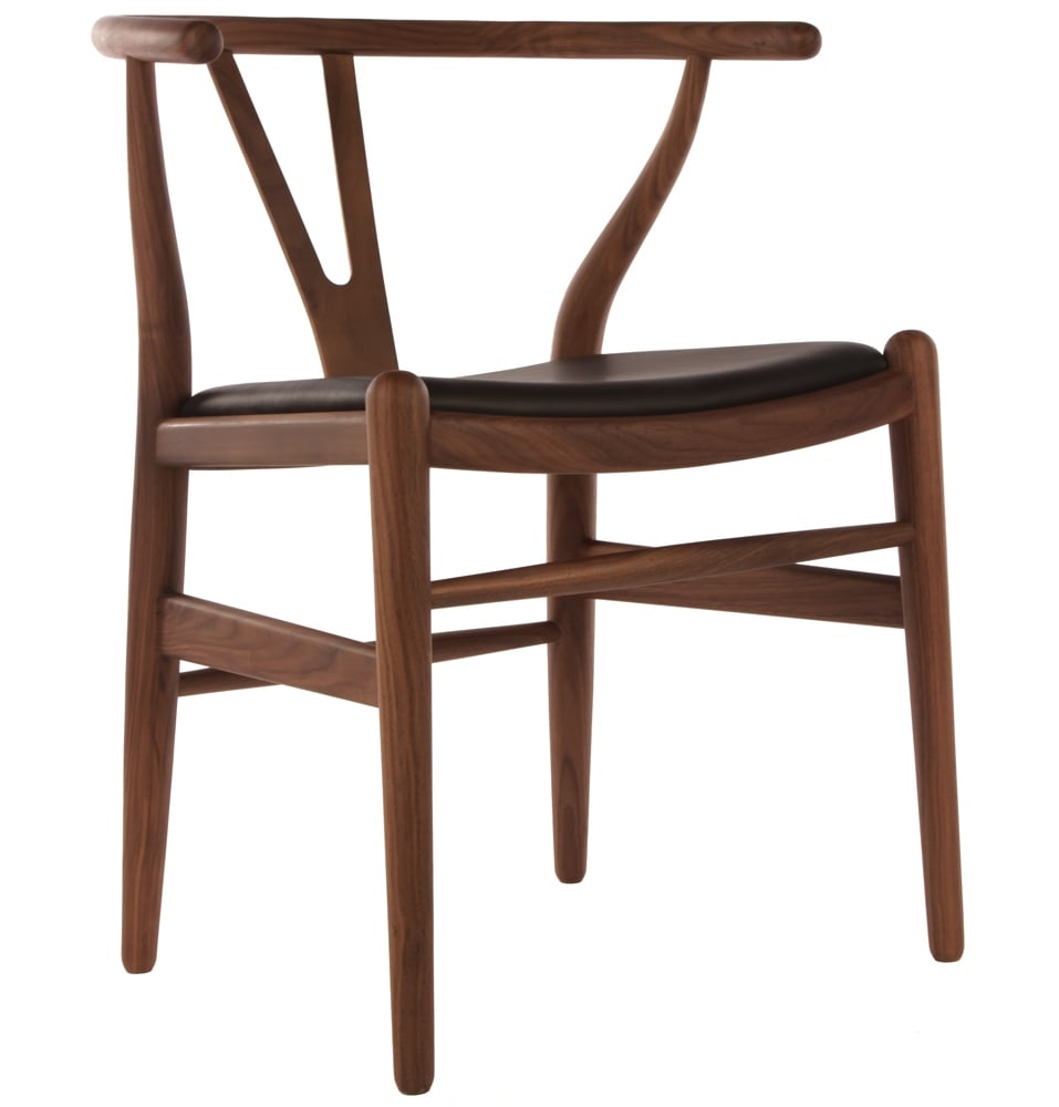 Wishbone Chairs Wishbone Chair Walnut With Black Leather Seat
