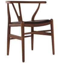 Wishbone Chair Walnut with Black Leather seat - Homage