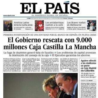 Portada de El País, 30 de marzo de 2009.