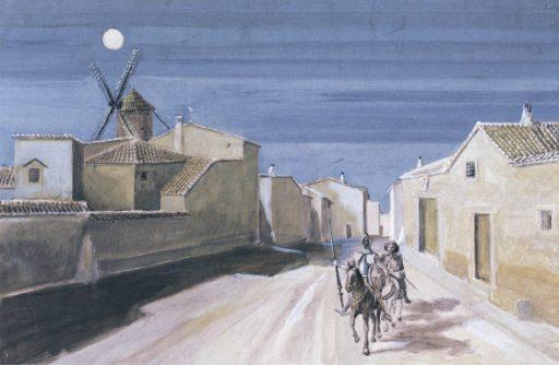 Don Quijote y Sancho entrando en un pueblo, 1957