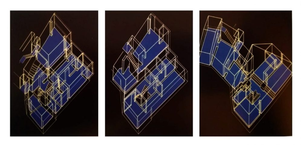 Cartel de 1973 con vistas axonométricas del museo.