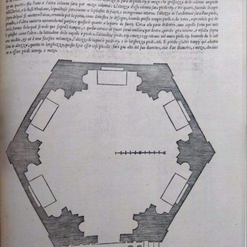 Planta de Templo hexagonal según S.Serlio en su libro Quinto (1551)