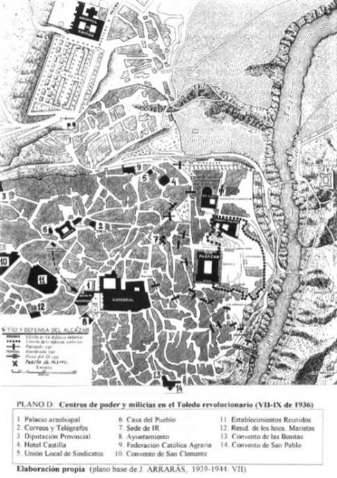 Plano del asedio de el Alcázar de Toledo