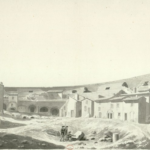 La Arena de Nimes habitada. Excavaciones en el interior.