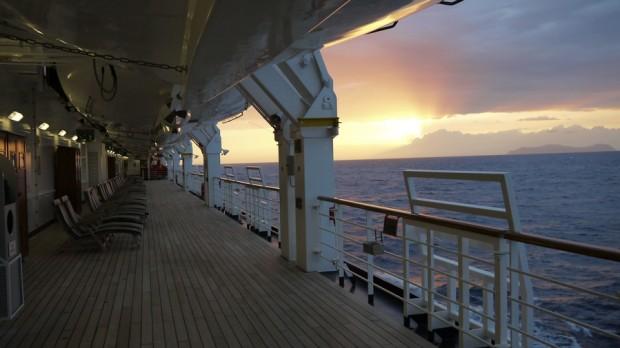 Puesta de sol en la cubierta del Nieuw Amsterdam