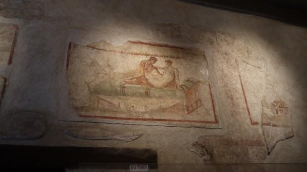 Frescos eróticos en un lupanar en Pompeya