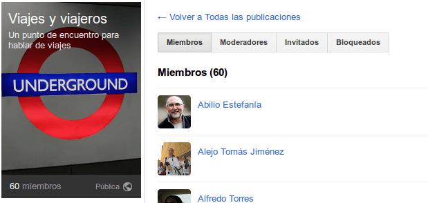 Viajes y viajeros, comunidad de viajes en Google +