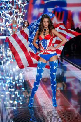 Taylor Hill walks the runway at the 2015 Victoria's Secret Fashion Show in New York City on November 10th, 2015