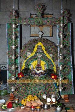 Hombuja-Jain-Math-Humcha-Goddess-Padmavati-Peacock-Decoration