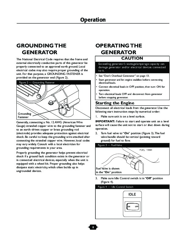 Husqvarna 1365GN Generator Owners Manual, 2003,2004,2005,2006