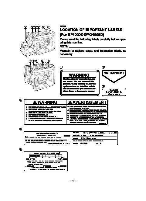 Yamaha EF4000DE EF5200DE EF6600DE YG4000D YG5200D YG6600D