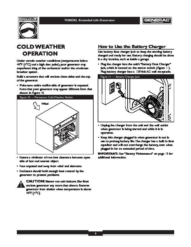 Generac 7500EXL Generator Owners Manual