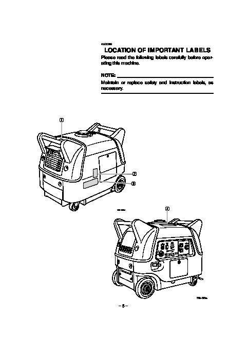 Yamaha EF3000iSE EF3000iSEB Generator Owners Manual
