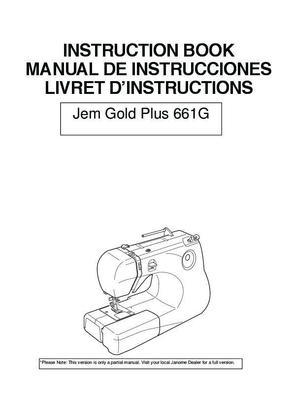 Janome Gold Plus 661G Sewing Machine Owners Manual