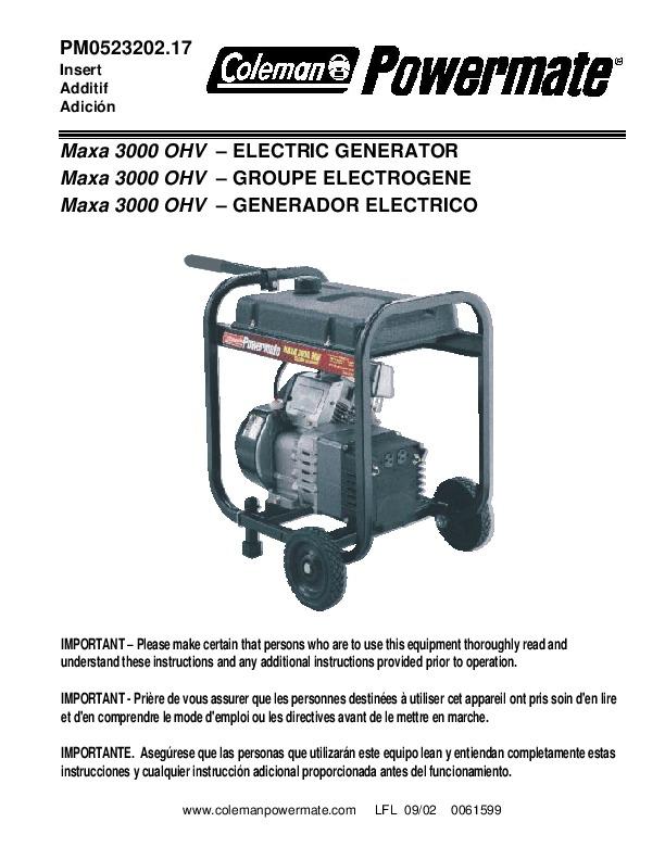 Coleman powermate 3000 watt Generator manual
