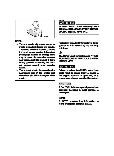 Yamaha EF1000A Generator Owners Manual