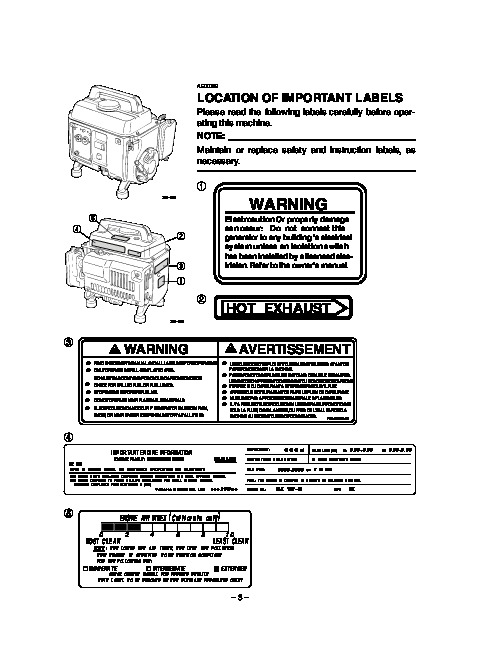 Yamaha EF1000A Generator Owners Manual