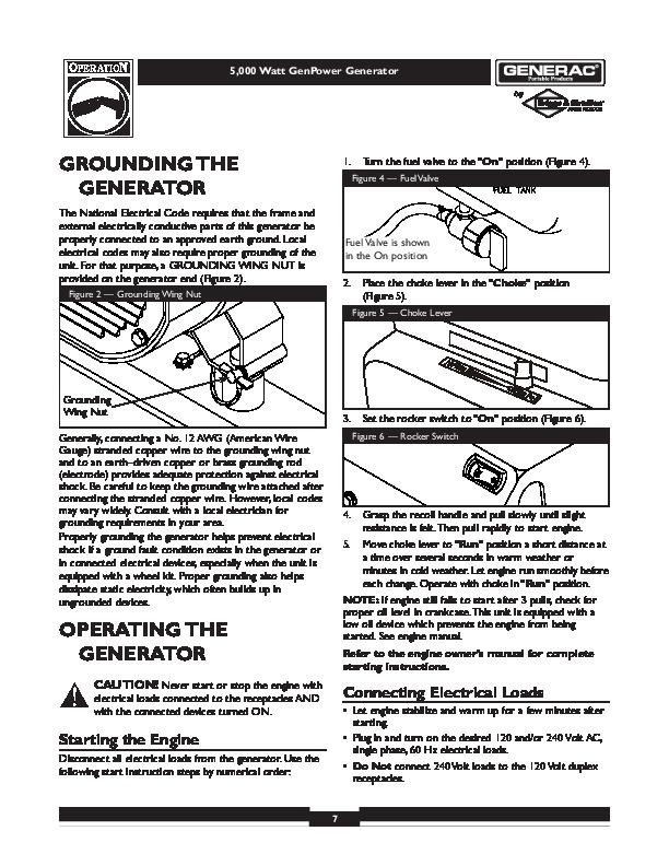 Generac 5000 Generator Owners Manual