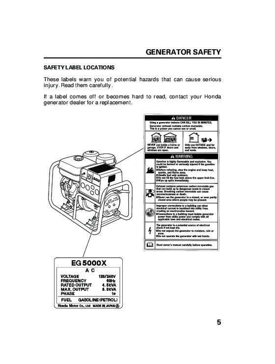 Honda Generator EG5000X Owners Manual