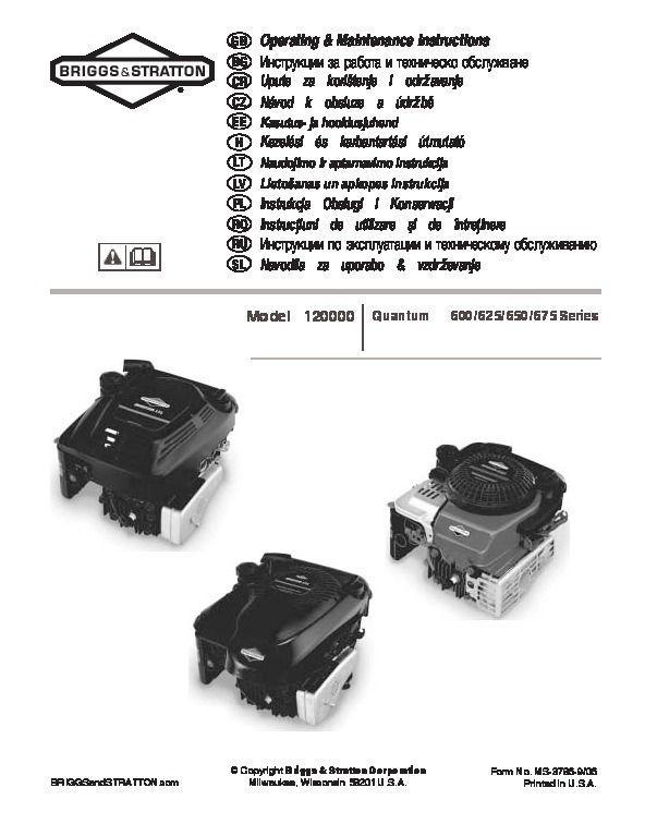 Briggs And Stratton 675 Series Manual free download