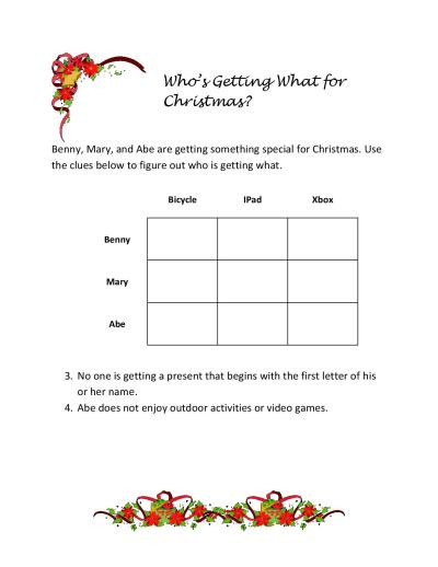 ways to use critical thinking logic puzzles in your homeschool or classroom - Christmas Logic Puzzles
