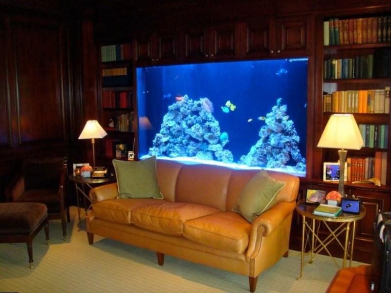 Эффекты синего света в гостиной