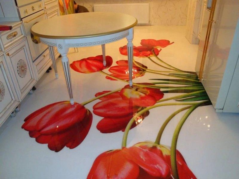 красивый наливной пол Тюльпани