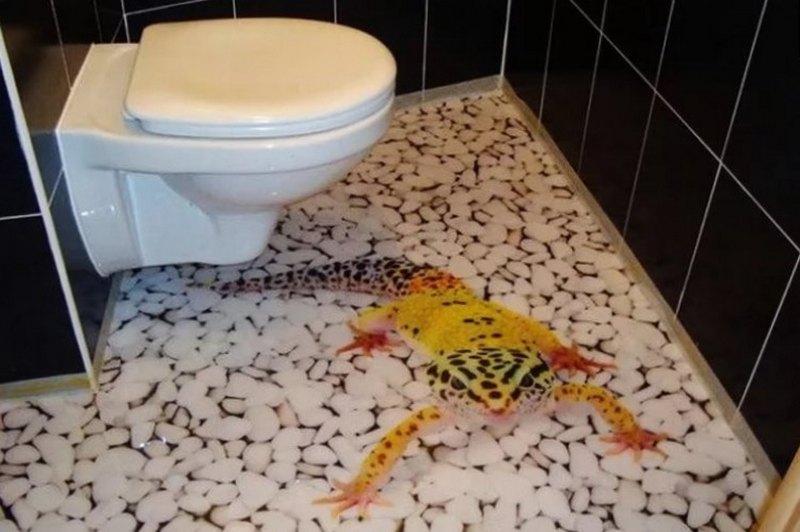 как делать 3д пол ванной комнате