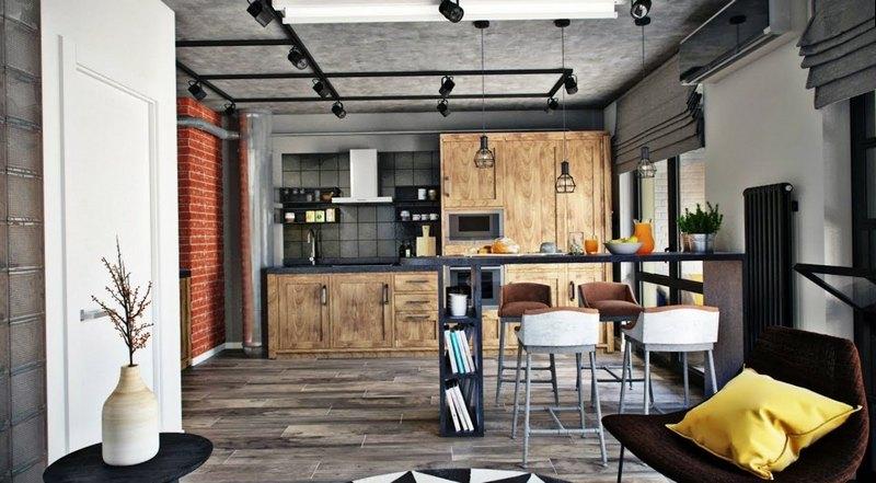 Минималистичный интерьер кухни в стиле лофт