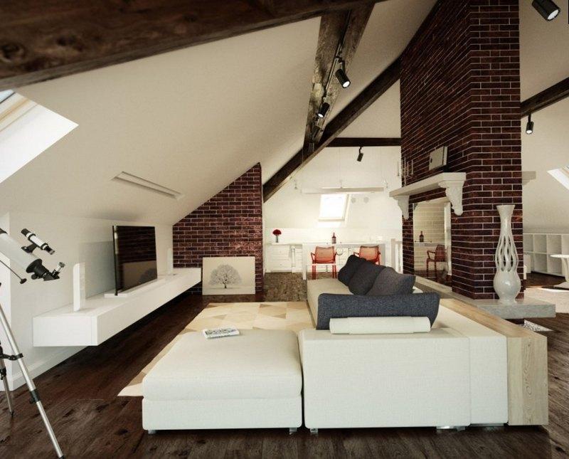 дизайн гостинной в стиле лофт с белыми роскошными диванами
