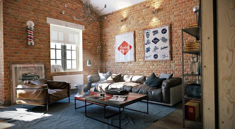 кожаная мебель с кирпичными стенами