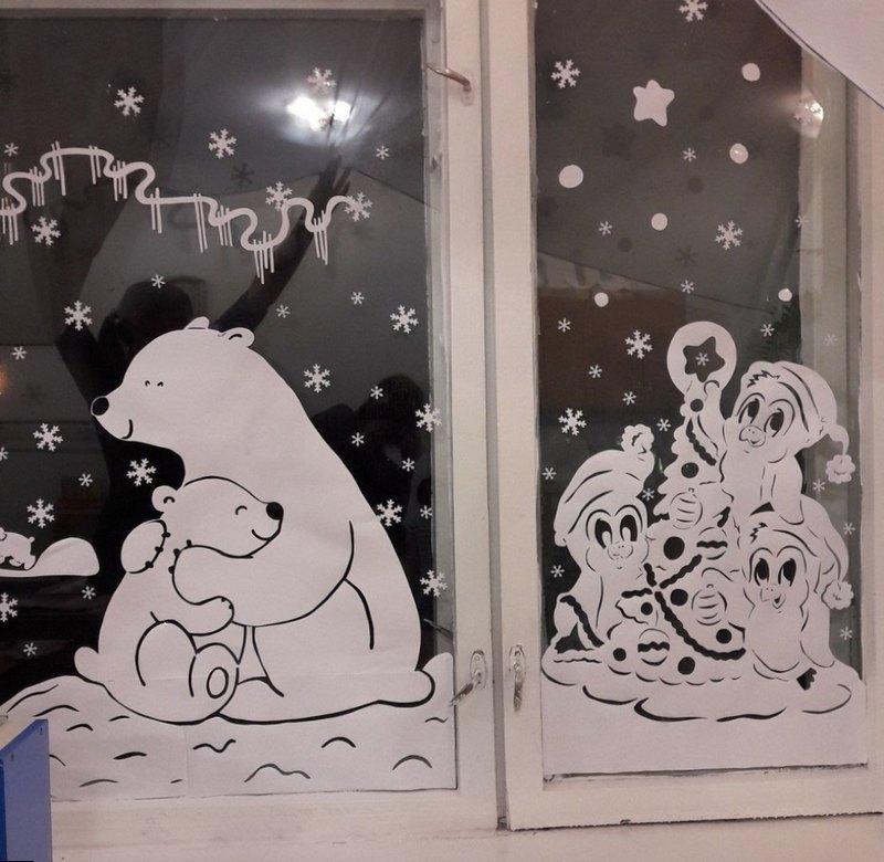 вытынанки зима Медвежата и пингвины