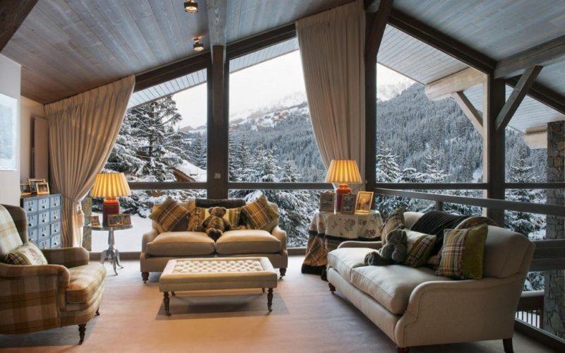 интерьер в стиле шале с прекрасным видом на горы