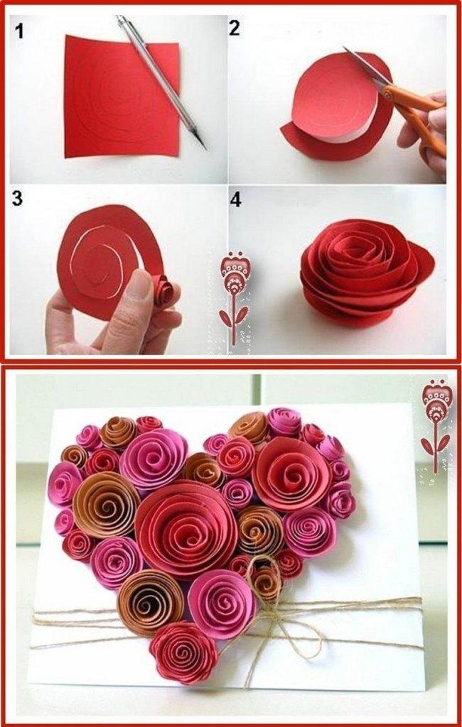 Сердечки из бумаги розы