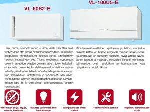 Ilmanvaihto-ongelma Mitsubishi jälkiasennus-ilmanvaihto VL-100U5-E Home VOC Oy