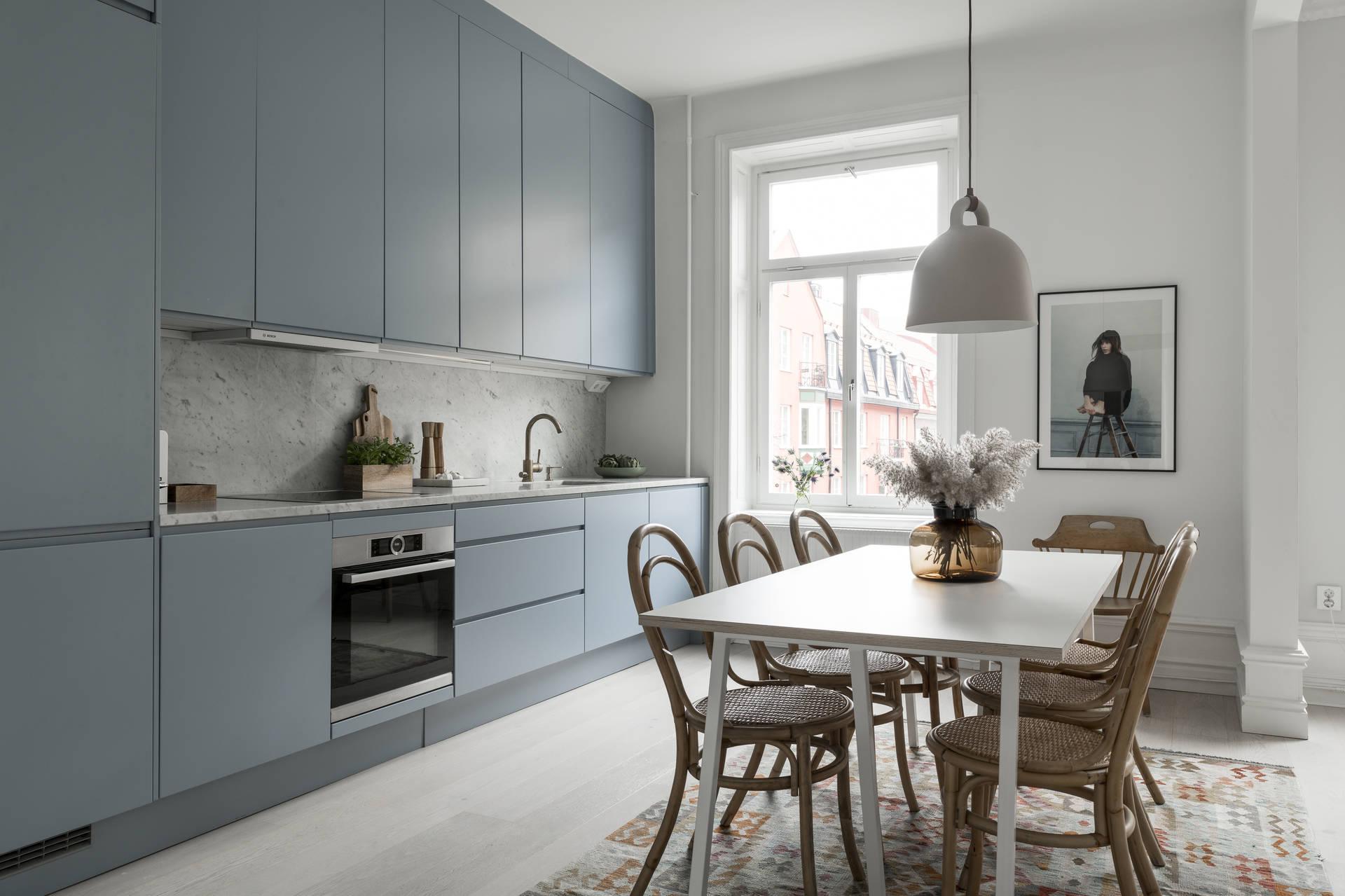 spacieuse cuisine bleu clair home