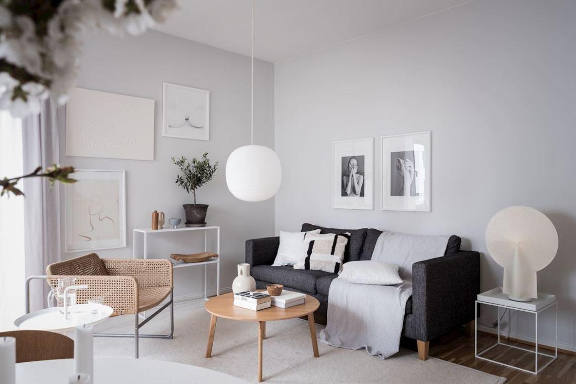 salon beige et gris avec un look propre