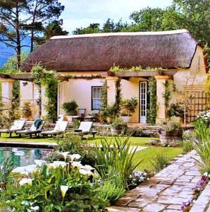 дом сельский стиль пруд лилии