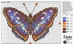 бабочка бесплатная схема для вышивания