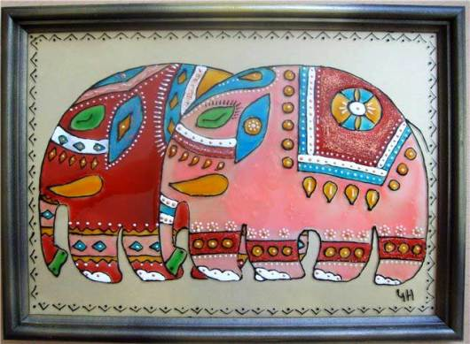 картина витражными красками слоники