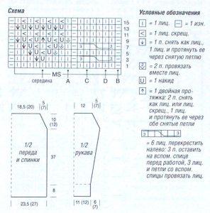 схема вязания летнего пуловера спицами