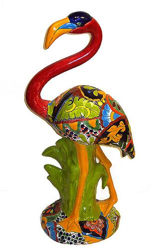 статуэтка фламинго мексиканская роспись