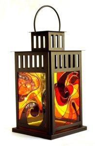 фонарь со свечой витражными красками роспись по стеклу